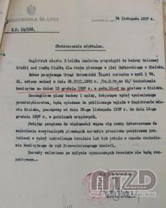Kładka z Al. Sułkowskiego, decyzja Wojewody ślaskiego - 1937