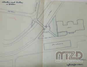 Kładka z Al. Sułkowskiego, widok z góry, mapa terenu