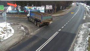 Samochód ciężarowy, skrzyżowanie, widok z kamery