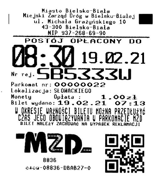 Bilet z parkomatu