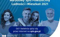 Plakat zachęcający do udziału w Narodowym Spisie Powszechnym Ludności i Mieszkań 2021. Na niebieskim tle cztery uśmiechnięte osoby, w różnym wieku, zachęcają do udziału w spisie