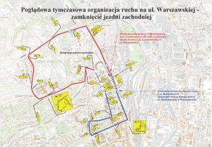 Mapa z naniesioną tymczasową organizacją na ul. Warszawskiej – zamknięcie jezdni zachodniej